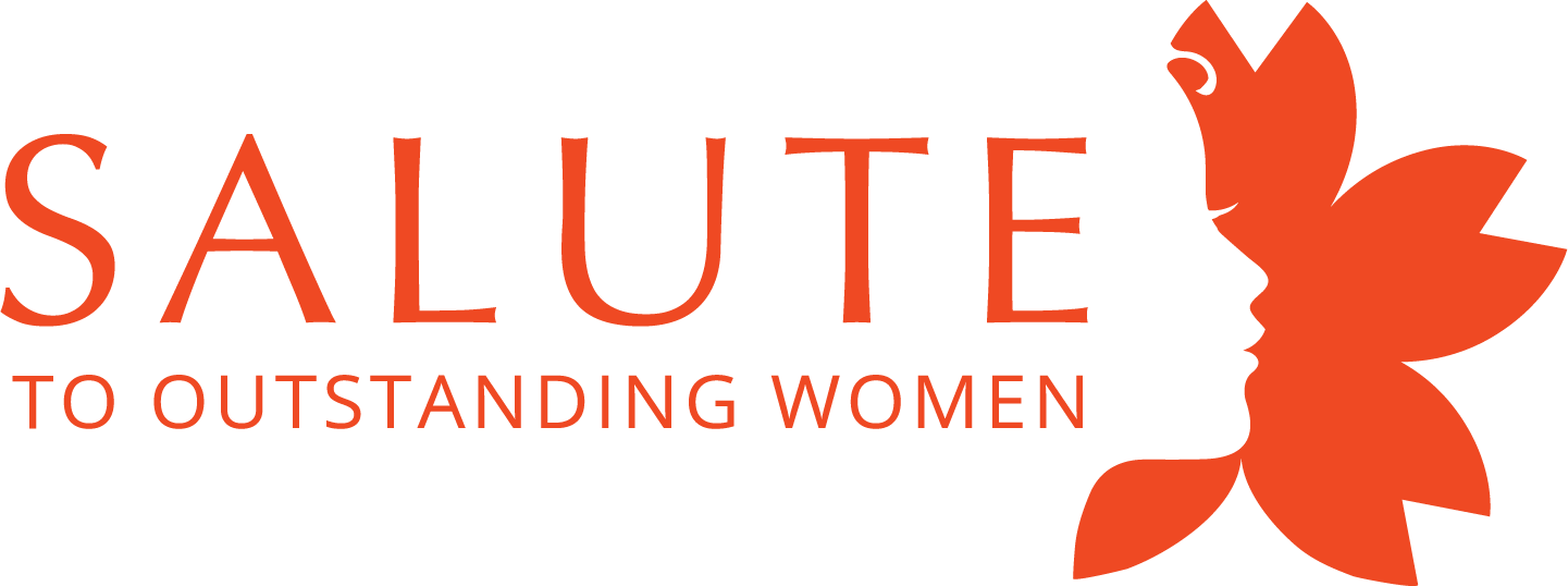 salute to outstanding women logo with flower, orange