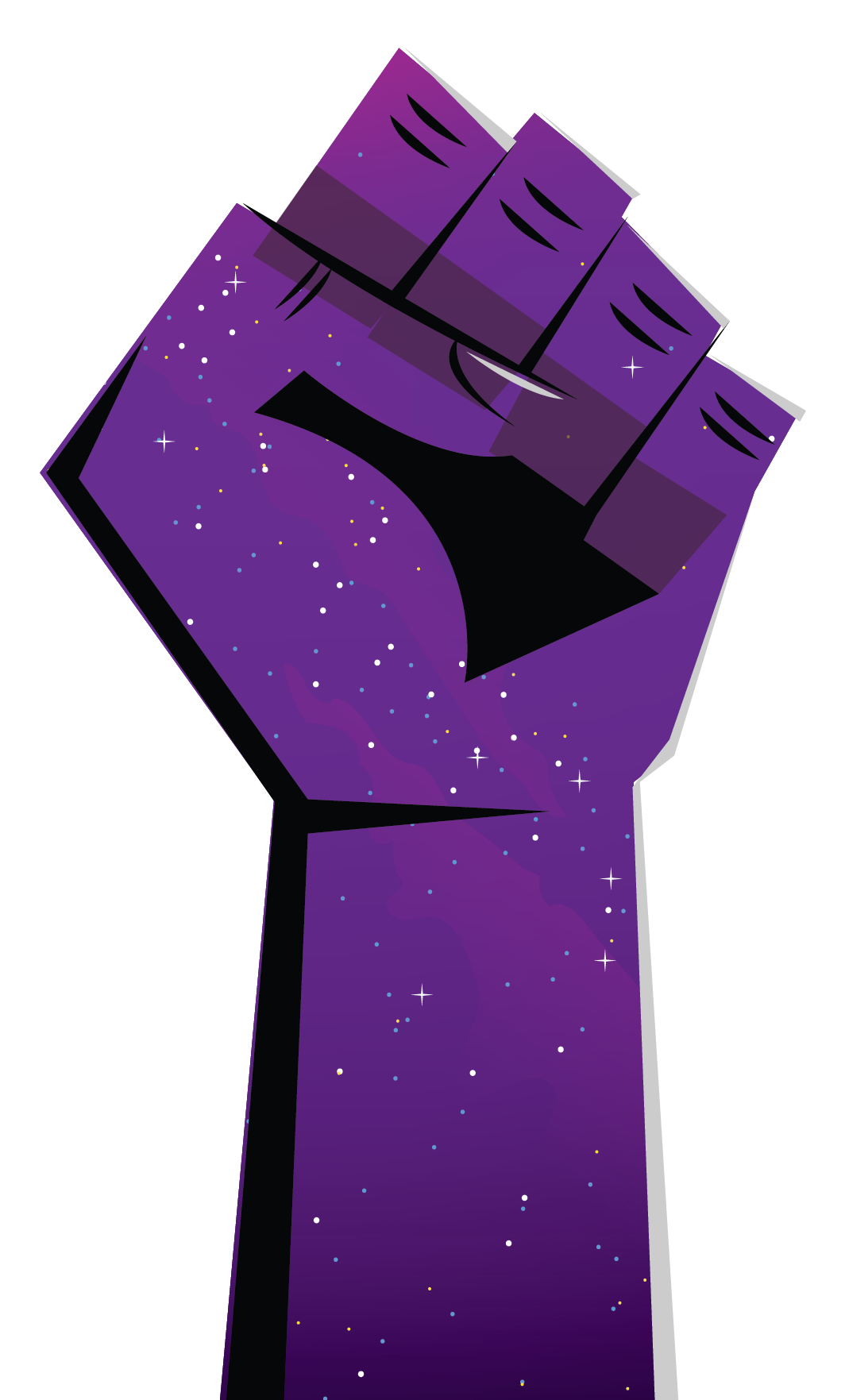 animated fist with purple starry sky