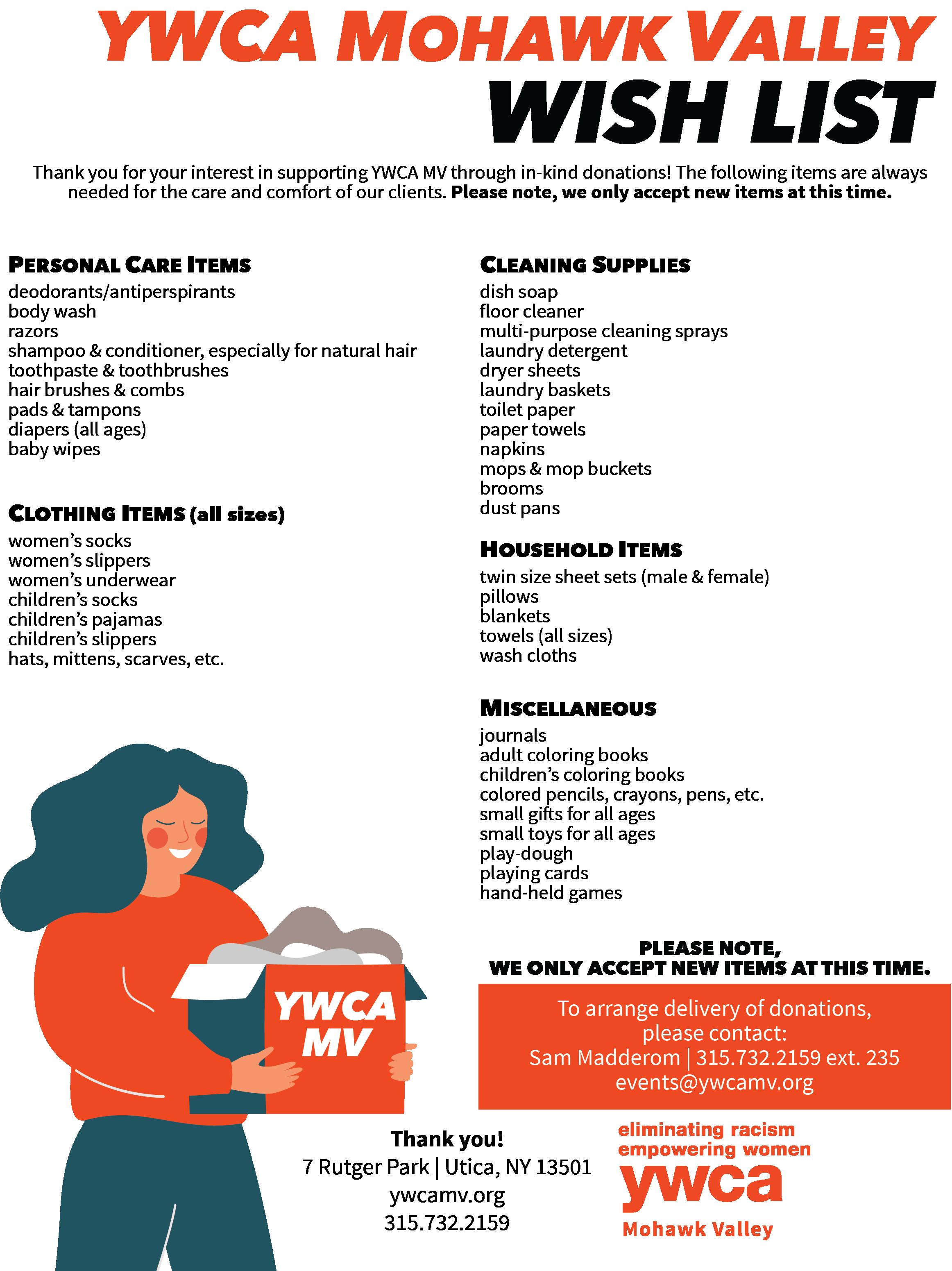 YWCA MV donation wish list